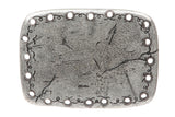 Western Rectangular Hammered Floral Engraving Antique Belt Buckle