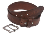 "1 1/2"" Snap On Cowhide Full Grain Leather Distressed Casual Belt"