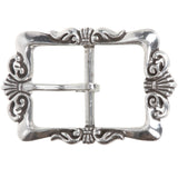 "1 1/2"" (38 mm)  Western Floral Single Prong Center Bar Silver Belt Buckle"