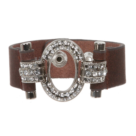 Linked Oval Rhinestone Leather Cuff Bracelet