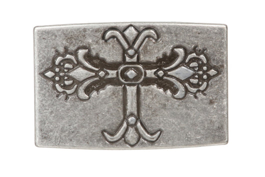 Religious Cross Rectangle Silver Belt Buckle