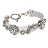 Rhinestone Charms Double Leather Strand Bracelet