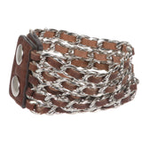Metal Chain Five Leather Strand Bracelet