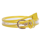 "Kids 1"" (25 mm) Color-Trimmed Patent Leather Transparent Jelly Clear Belt"