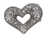Perforated Rhinestone Heart Flower Hollow Out Laced Belt Buckle