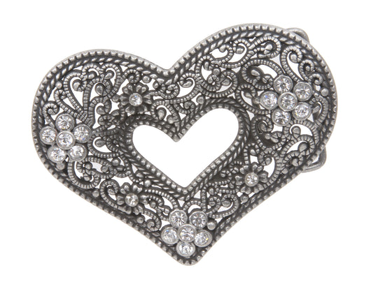 Perforated Rhinestone Heart Flower Belt Buckle