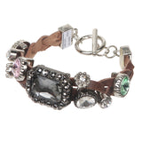 Braided Leather Strand Rhinestone Charms Bracelet