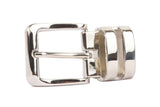 1 1/8 Inch Clamp On Double Loop Silver One Size Fits All Feather Edged Faux Leather Dress Belt