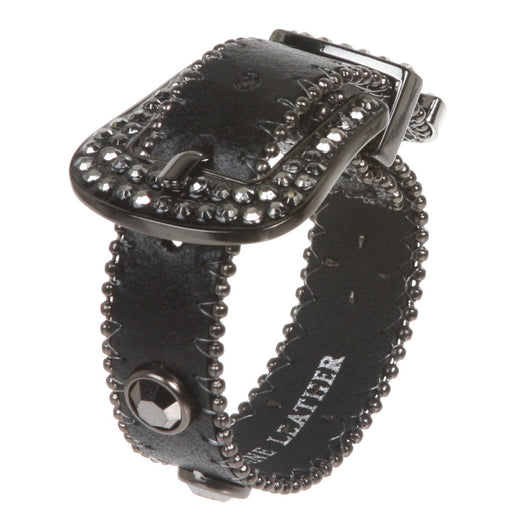 Western Hematite Rhinestone Studded Metal Ball Chain Leather Cuff Bracelet