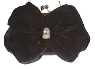 Satin Bow Clutch Purse Bling Rhinestone Clutch Evening Bag