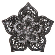 Double Layer Perforated Rhinestone Floral Nickel Free Belt Buckle
