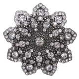 "1 1/8"" Double Layer Rhinestone Floral Nickel Free Belt Buckle"