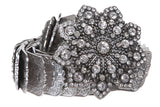 "1 1/4"" Nickel Free Double Layer Rhinestone Floral Elastic Sequent Metal Stretch Belt"
