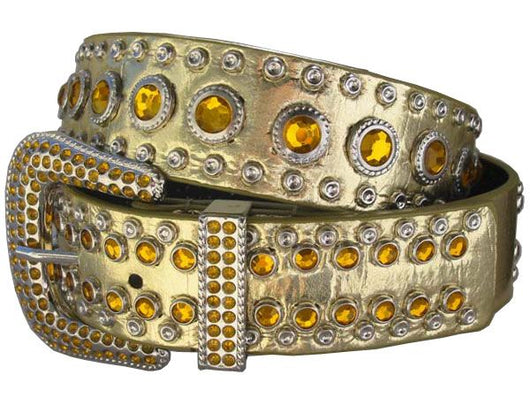 Western Rhinestone Metallic Studded Non-leather Belt