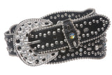 "1 1/2"" Snap On Rhinestone Studded Leather Belt"