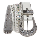 Snap on Western Cowgirl Rhinestone Leather Belt