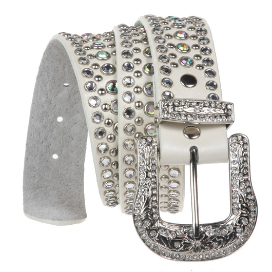 Rhinestone Metallic Leather Studded Belt with Western Rhinestone Removable Buckle