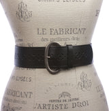 Ladies 2 1/4 Inch Wide Perforated  Douglas Leather Belt