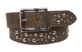 Snap On Rhinestone Rivet Studs Leather Belt