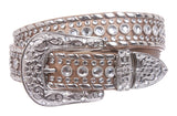 Western Rhinestone Silver Studded Leather Belt