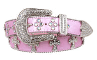 Western Rhinestone Cross Decoration Genuine Leather Belt