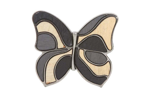 Wood Fill-In Butterfly Plaque Belt Buckle