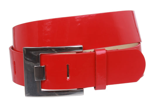 Ladies Square Metal Buckle Patent Plain Leather Fashion Belt