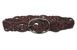 "Women's 1 3/4"" (45 mm) Braided Weave Leather Belt with Chain Detail"