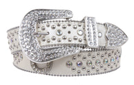 Ladies Western Rhinestone Silver Circle Studs and Horseshoes Decoration Genuine Leather Belt