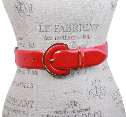 Ladies Round Gold Buckle Feather Edged Patent Leather Belt