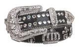 Western Rhinestone Fleur De Lis and Crown Genuine Leather Belt