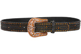 Western Topaz Rhinestone Faux Fur Genuine Leather Belt