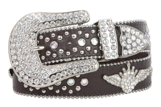 Snap On Rhinestone Crown Winged Heart Silver Circle Studded Leather Belt