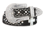 Snap On Rhinestone Cross Silver Circle Studded Faux Fur Genuine Leather Belt
