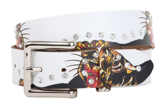 1 1/2 Inch Snap On Rhinestone Tiger Printed Genuine Leather Belt