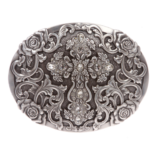 Western Antiqued Silver Cross & Rose Filigree with Rhinestones Oval Buckle