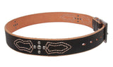 "1 1/2"" Silver Studded Full Grain Leather Casual Belt"