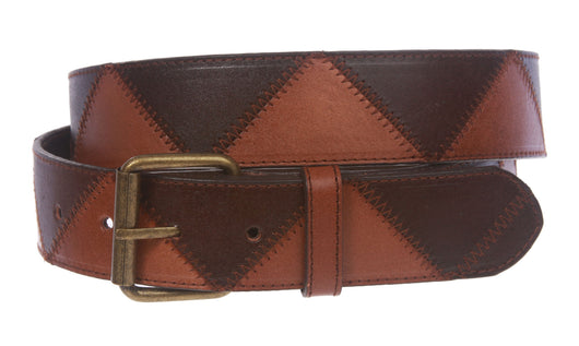Snap On Stitching Edged Brass Buckle Two Tone Brown Genuine Leather Belt