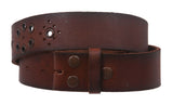 Snap On Vintage Grommets Perforated Full Grain Leather Belt Strap