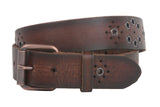 Snap On Oil Tanned Rustic Full Grain Leather Belt With Grommets Detailing