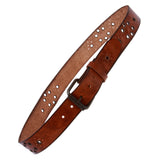 Snap On Oil Tanned Vintage Grommets Perforated Full Grain Solid Leather Belt