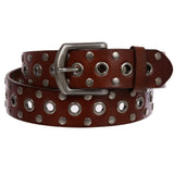 Casual Riveted Studded Grommets & Studs Solid Leather Belt