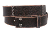 Snap On Oil Tanned Vintage Grommets Genuine Leather Belt Strap