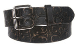 Snap On Fleur De Lis Embossed Genuine Bonded Leather Belt