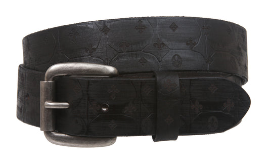 Snap On Oil Tanned Full Grain Fleur De Lis Embossed Vintage Retro Leather Belt