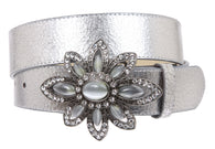 Snap On Crack Print Stitching Edged Belt with Rhinestone Floral buckle