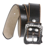 Vintage Crack Stitching Edged Genuine Leather Belt with Square Hammered Buckle