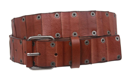 Snap On Oil-tanned Genuine Leather Studded Link Belt with Roller Buckle