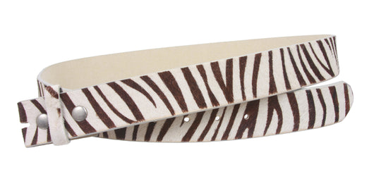 Snap On Cow Hair Zebra Print Leather Belt Strap