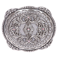 Women's Floral And Scroll Rhinestone Oval Buckle